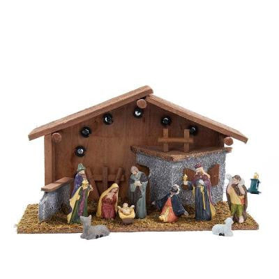 8.86 in. Nativity Set with Figures and Lighted Wooden Stable (10-Piece)