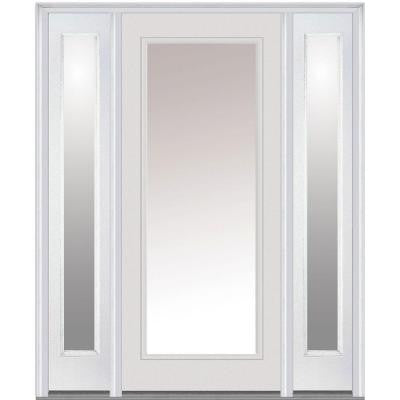 64 in. x 80 in. Classic Clear Glass Full Lite Painted Builder's Choice Steel Prehung Front Door with Sidelites