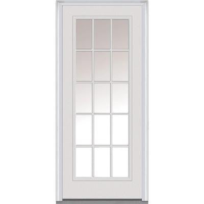 30 in. x 80 in. Classic Clear Glass 15 Lite Primed White Fiberglass Smooth Prehung Front Door with External Wood Grille