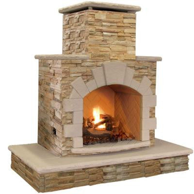 78 in. Brown Natural Stone Propane Gas Outdoor Fireplace
