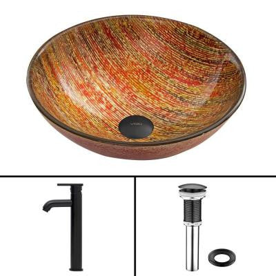 Glass Vessel Sink in Blazing Fire and Seville Faucet Set in Matte Black