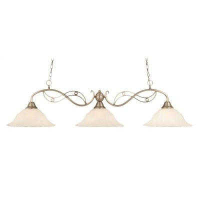 Concord 3-Light Brushed Nickel Incandescent Ceiling Island Pendant