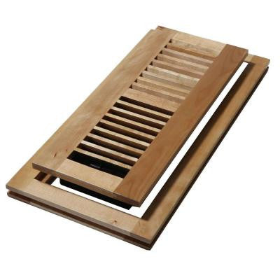 4 in. x 10 in. Wood Natural Maple Flush Mount Floor Register
