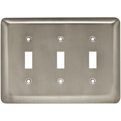 Stamped Round 3 Toggle Switch Wall Plate - Satin Nickel