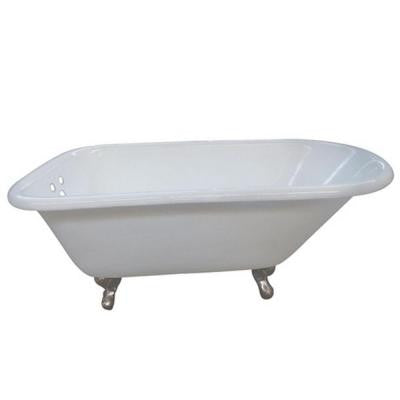 5.5 ft. Cast Iron Satin Nickel Claw Foot Classic Roll Top Tub with 3-3/8 in. Centers in White
