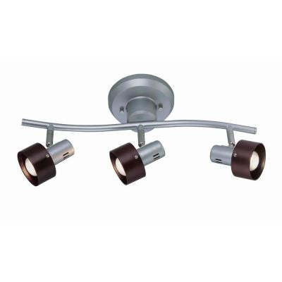 Designer Collection 3-Light 6.25 in. Silver Track Light with Dark Walnut Wood Shade
