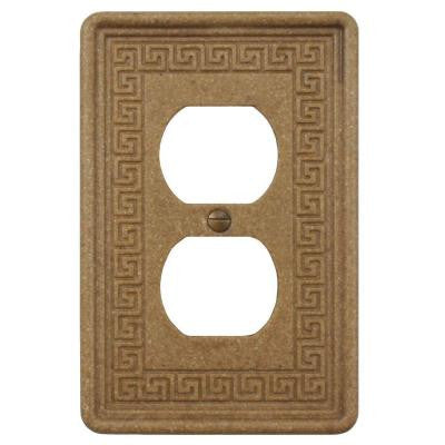 Contempo Greek Key 1 Duplex Outlet Plate - Noce Travertine