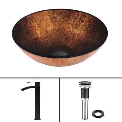 Glass Vessel Sink in Russet and Duris Faucet Set in Matte Black