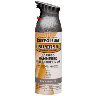 12 oz. All Surface Forged Hammered Antique Pewter Spray Paint and Primer in One (6-Pack)