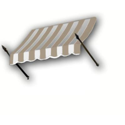 8 ft. New Orleans Awning (44 in. H x 24 in. D) in Tan / White Stripe