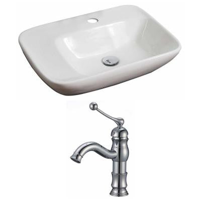 Rectangle Vessel Sink Set in White with Single Hole cUPC Faucet