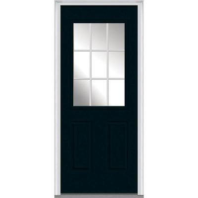 30 in. x 80 in. Classic Clear Glass GBG 1/2-Lite Painted Builder's Choice Steel Prehung Front Door