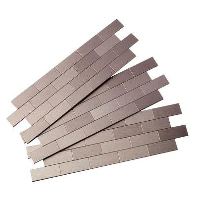 Subway Matted 12 in. x 4 in. Metal Decorative Tile Backsplash in Brushed Stainless (3-Pack)