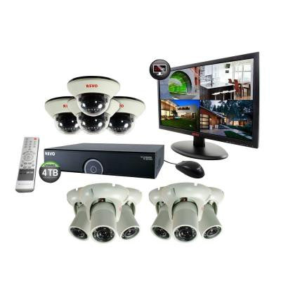 16-Channel 4TB 960H DVR Surveillance System with (10) 1200 TVL 100 ft. Night Vision Cameras and 21.5 in. Monitor