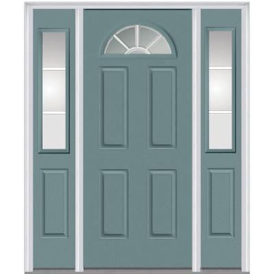 60 in. x 80 in. Classic Clear Glass GBG 1/4-Lite Painted Fiberglass Smooth Prehung Front Door with Sidelites