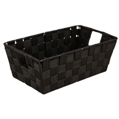 Small Woven Strap Shelf Tote in Black