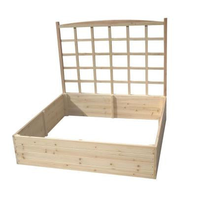 4 ft. x 4 ft. x 11 in. Solid Fir Wood Raised Garden Bed with Trellis