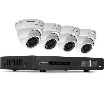 1080P Tribrid HDCVI 4CH 2TB DVR Security Camera System with 4 x 2.1MP Dome Cameras - White