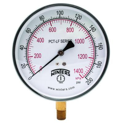 PCT-LF Series 4.5 in. Lead-Free Brass Stainless Steel Pressure Gauge with 1/4 in. NPT LM and 0-200 psi/kPa