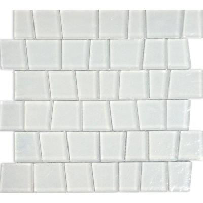 Alps White Trapezoid 12 in. x 11-3/4 in. x 8 mm Glass Mosaic Tile