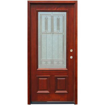 36 in. x 80 in. Traditional 3/4 Lite Stained Mahogany Wood Prehung Front Door