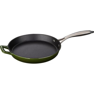 10 in. Cast Iron Round Fry Pan with Enamel Finish in Green