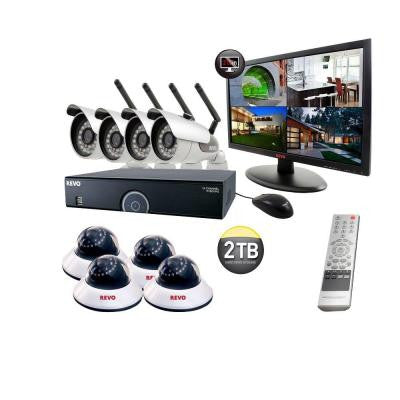 16-Channel 2TB DVR Surveillance System with 4 Wireless Bullet Cameras, 4 Wired Dome Cameras and Monitor