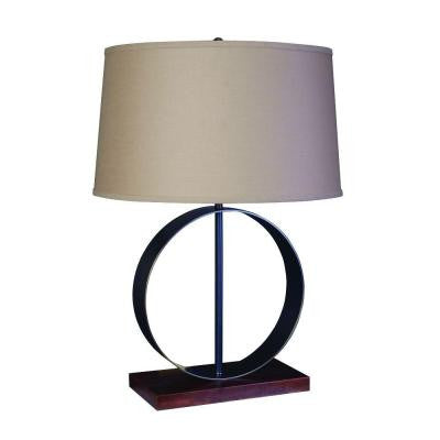 28 in. Bronze Circle Metal and Wood Table Lamp