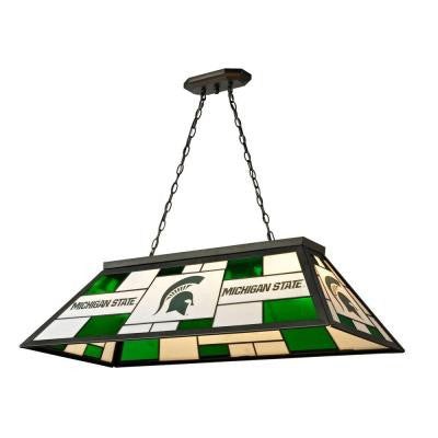 3-Light Black Michigan State Stained Glass Billiard Lamp