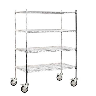 9500S Series 48 in. W x 69 in. H x 24 in. D Industrial Grade Welded Wire Mobile Wire Shelving in Chrome