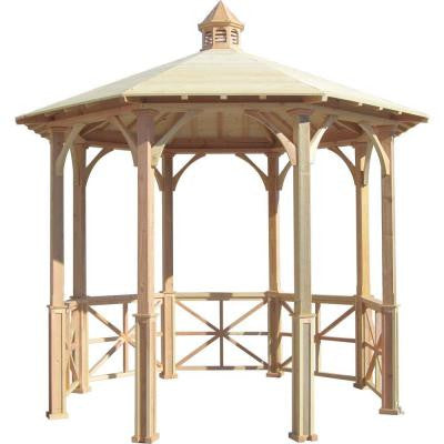 10 ft. Octagon English Cottage Garden Gazebo with Cupola - Adjustable for Uneven Patio