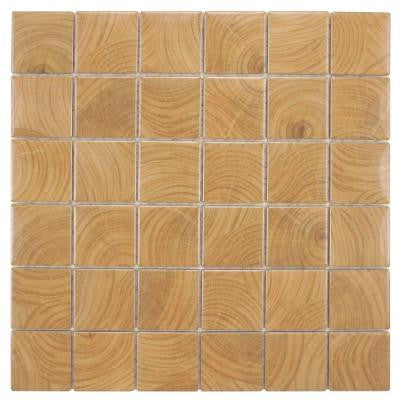 Clico Wood Brown 12 in. x 12 in. x 6 mm Porcelain Floor and Wall Mosaic Tile