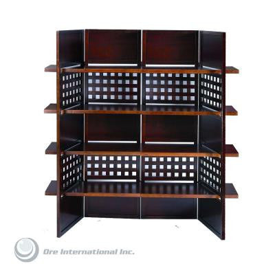 4-Panel Walnut Room Divider with Book Shelves
