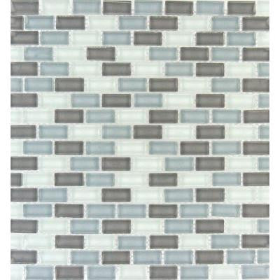 Majestic Ocean Mini Brick 12 in. x 12 in. x 8 mm Glass Mesh-Mounted Mosaic Tile