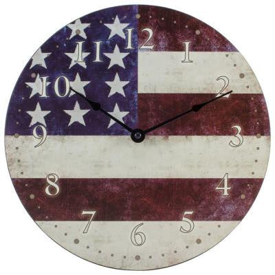 12 in. W x 12 in. H Round American Flag Analog Wall Clock