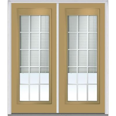 72 in. x 80 in. Classic Clear Low-E Glass RLB Full Lite Painted Builder's Choice Steel Double Prehung Front Door