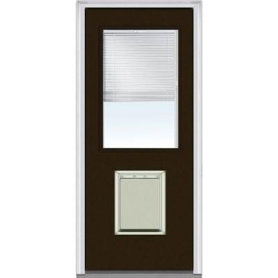 30 in. x 80 in. Classic Clear RLB Glass 1/2-Lite Painted Majestic Steel Prehung Front Door with Large Pet Door