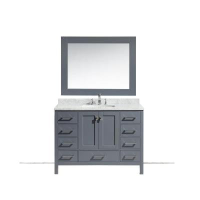 London 48 in. W x 22 in. D x 36 in. H Vanity in Gray with Marble Vanity Top in Carrara White, Basin and Mirror