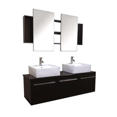 Agni Series 59.25 in. Double Vanity in Espresso with Glass Vanity Top in Black with Double Mirrors