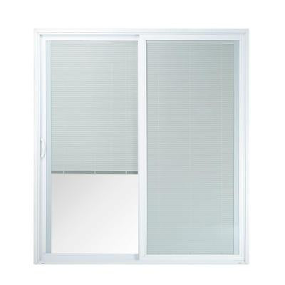 72 in. x 80 in. 50 Series White Vinyl Left-Hand Assembled Patio Door with Built in Blinds