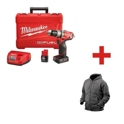 M12 FUEL 12-Volt Lithium-Ion Brushless 1/2 in. Cordless Hammer Drill and Driver Kit with Large Gray M12 Heated Hoodie