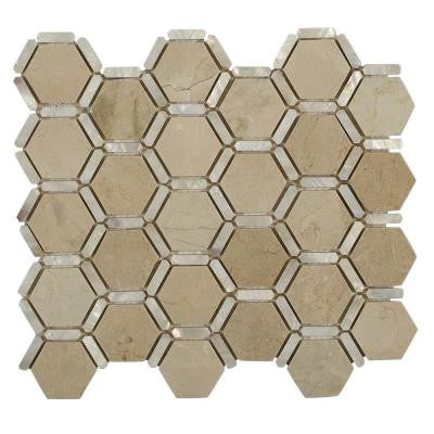 Ambrosia Crema Marfil 12 in. x 12 in. x 10 mm Polished Pearl and Marble Mosaic Tile