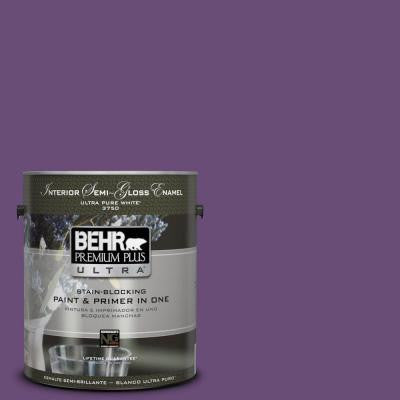 1-gal. #660B-7 Exotic Purple Semi-Gloss Enamel Interior Paint