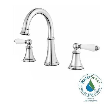 Courant 8 in. Widespread 2-Handle High-Arc Bathroom Faucet in Polished Chrome with White Handles