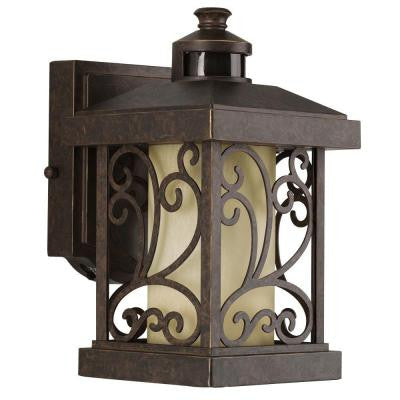 Cypress Collection Wall-Mount Outdoor 1-Light Forged Bronze Motion Sensor Lantern