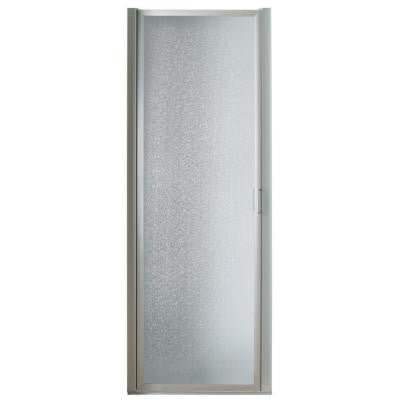 34 in. x 63-1/2 in. Framed Pivot Shower Door in Chrome with Rain Glass