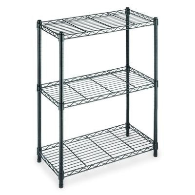 3-Shelf Steel Shelving Unit in Black