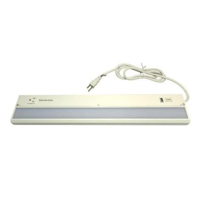 ECO-II 22 in. LED White Under Cabinet Light with USB Charging Port and Convenience Outlet