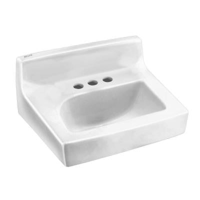 Penlyn Wall Hung Bathroom Sink in White with 4 in. Faucet Holes and Less Overflow
