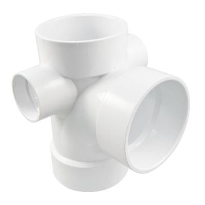 4 in. x 4 in. x 4 in. x 2 in. x 2 in. PVC DWV All Hub Sanitary Tee with Right and Left Inlets